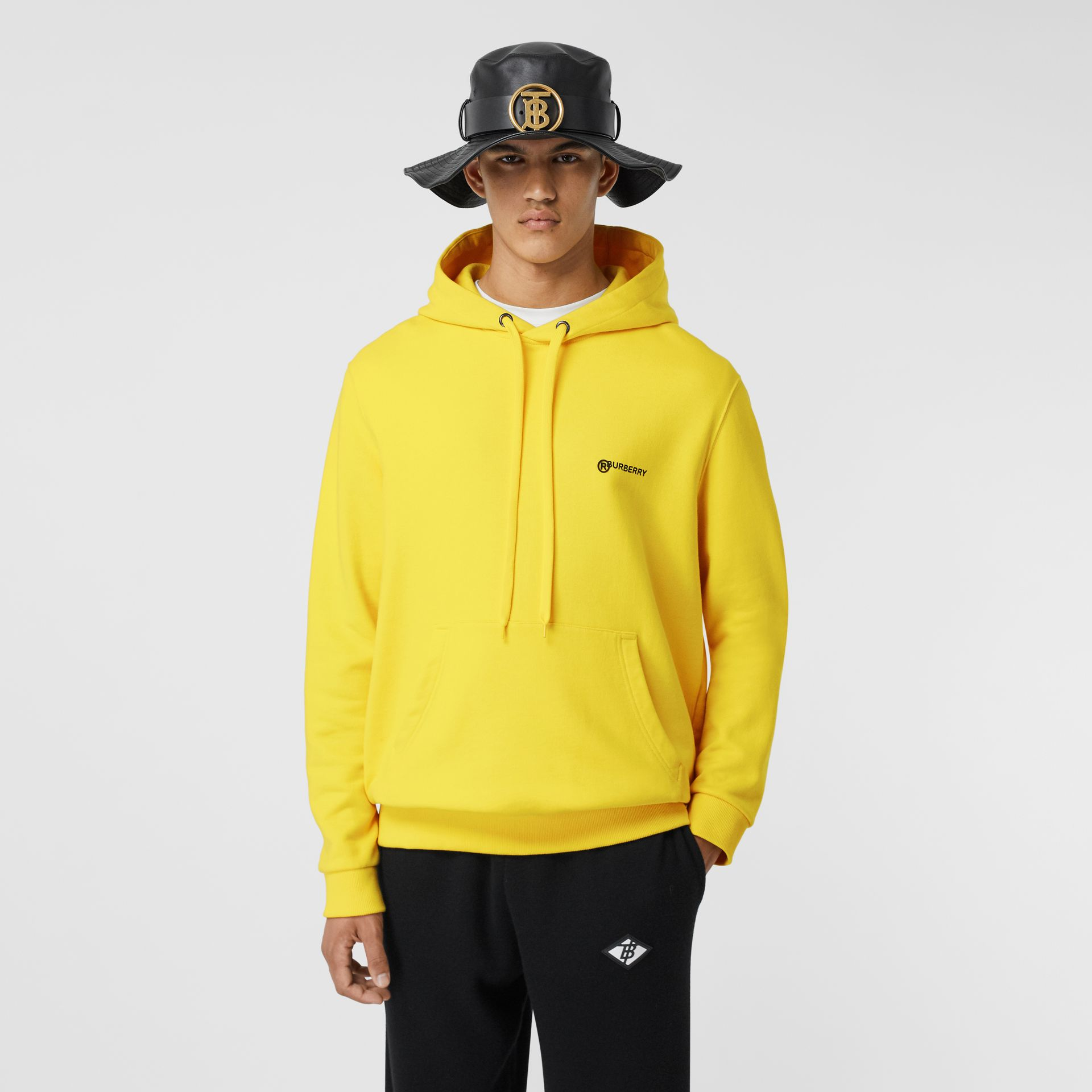 Logo Print Cotton Hoodie in Canary Yellow - Men | Burberry - gallery image 0