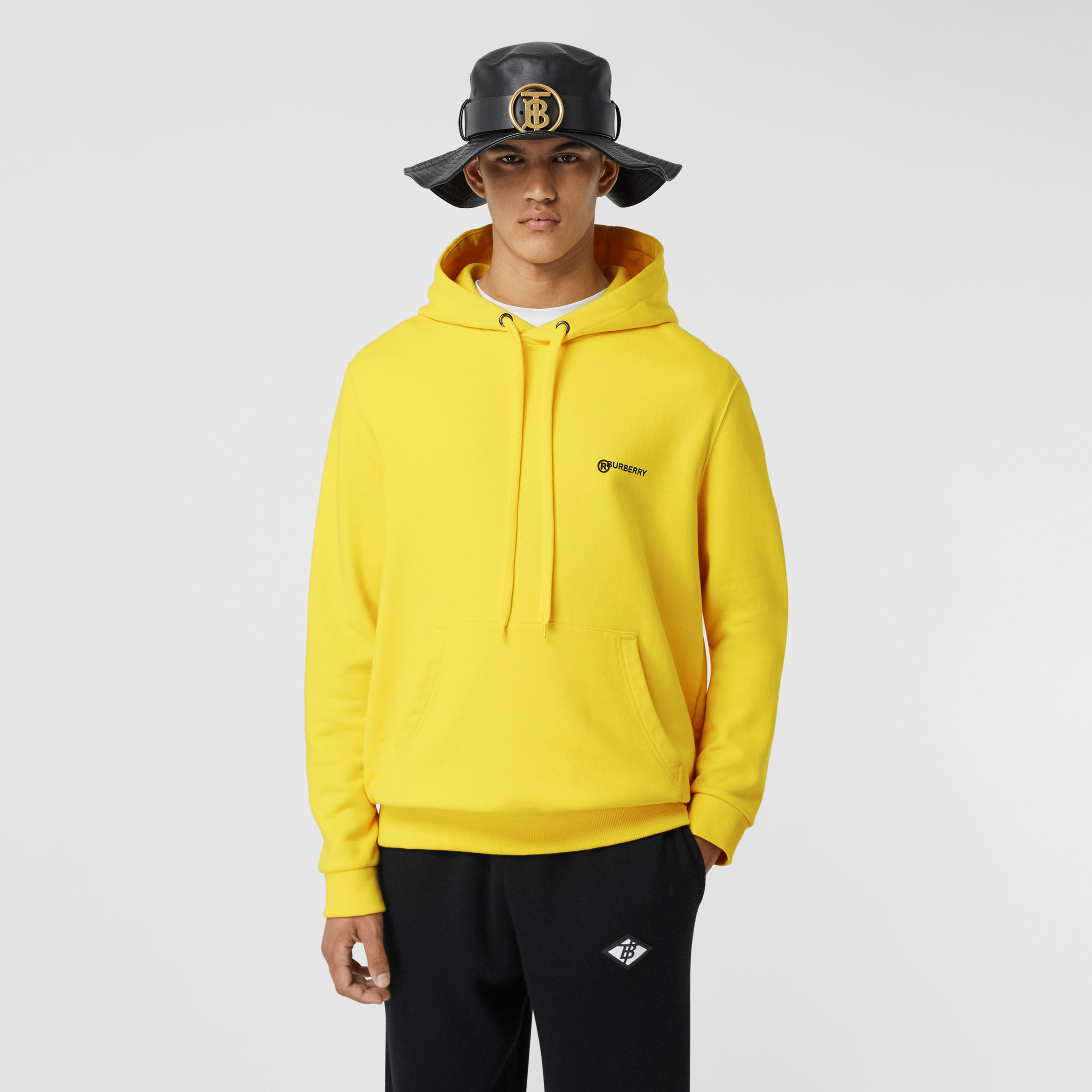 Logo Print Cotton Hoodie in Canary Yellow - Men | Burberry - 1