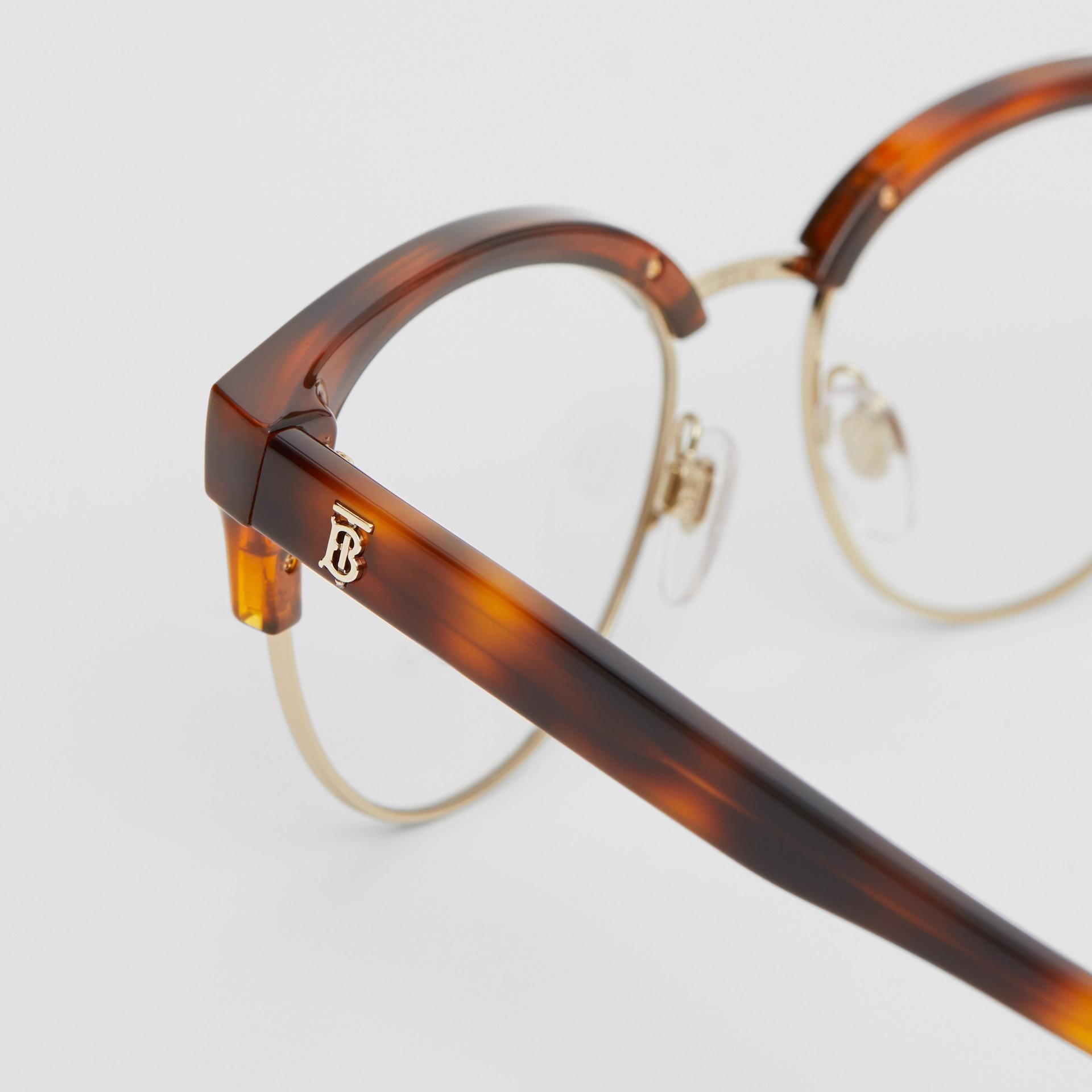 Óculos de grau com armação gatinho (Âmbar  Efeito Casco  Tartaruga) - Mulheres | Burberry - galeria de imagens 1
