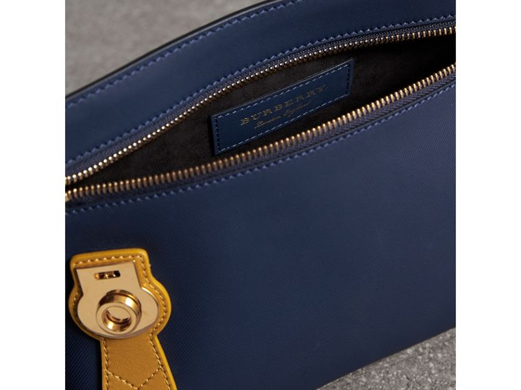 Two-tone Trench Leather Wristlet Pouch in Ink Blue/ochre Yellow - Women | Burberry Australia - cell image 4