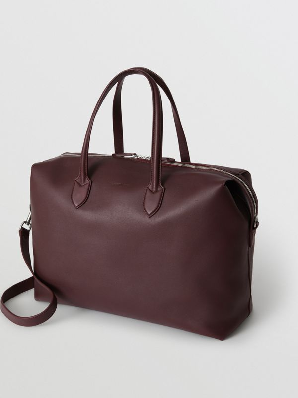 Soft Leather Holdall in Oxblood - Men | Burberry United States - cell image 2
