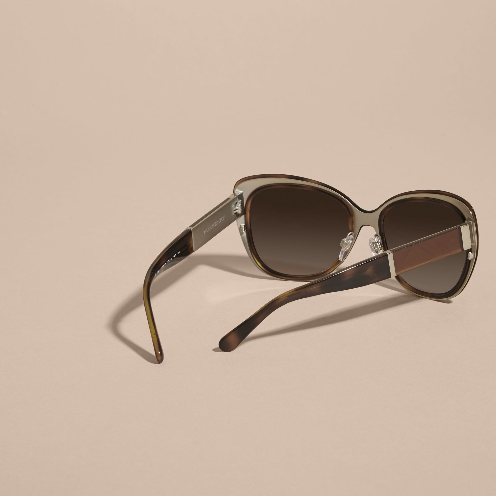 Light russet brown Check Detail Square Cat-eye Sunglasses Light Russet Brown - gallery image 4