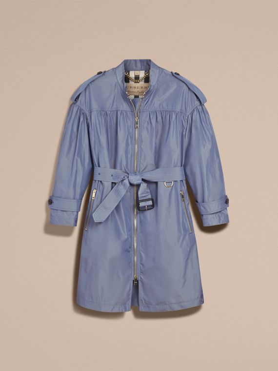 Lightweight Ruched Coat in Stone Blue - cell image 3