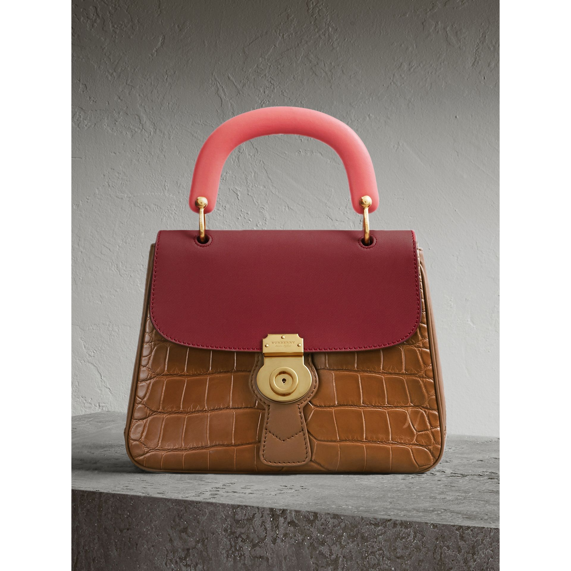 Sac à main DK88 moyen en alligator (Hâle/rouge Antique) - Femme | Burberry - photo de la galerie 1