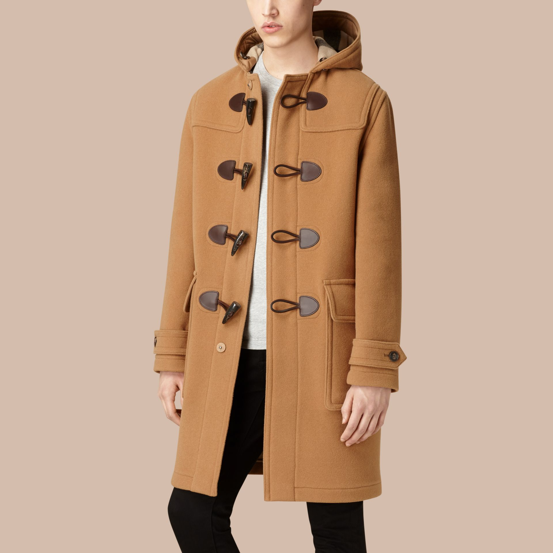 Camel Wool-Blend Duffle Coat Camel - gallery image 4