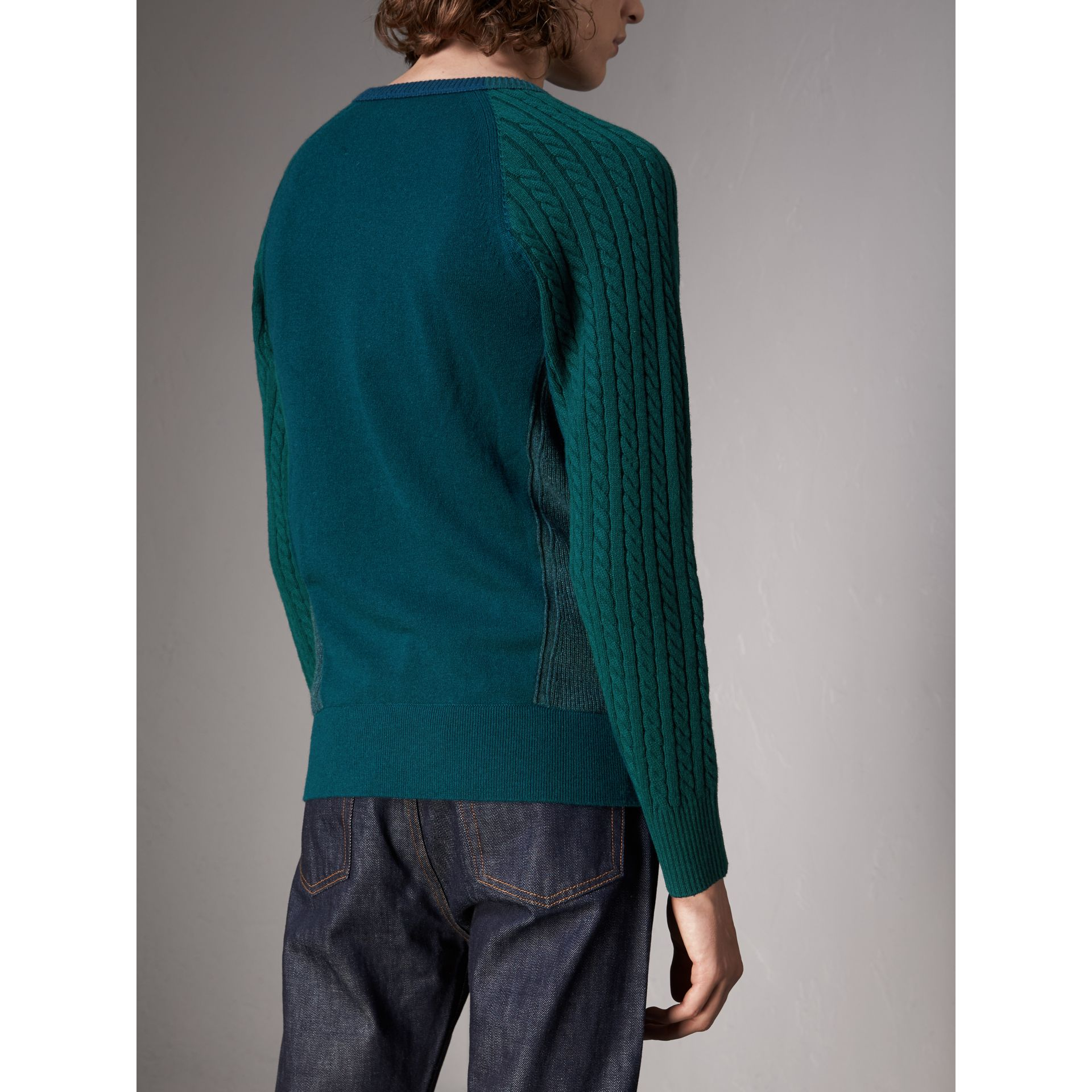 Two-tone Cable Knit Cashmere Sweater in Dark Teal - Men | Burberry Singapore - gallery image 3