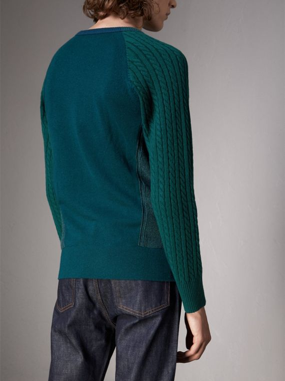 Two-tone Cable Knit Cashmere Sweater in Dark Teal - Men | Burberry Singapore - cell image 2