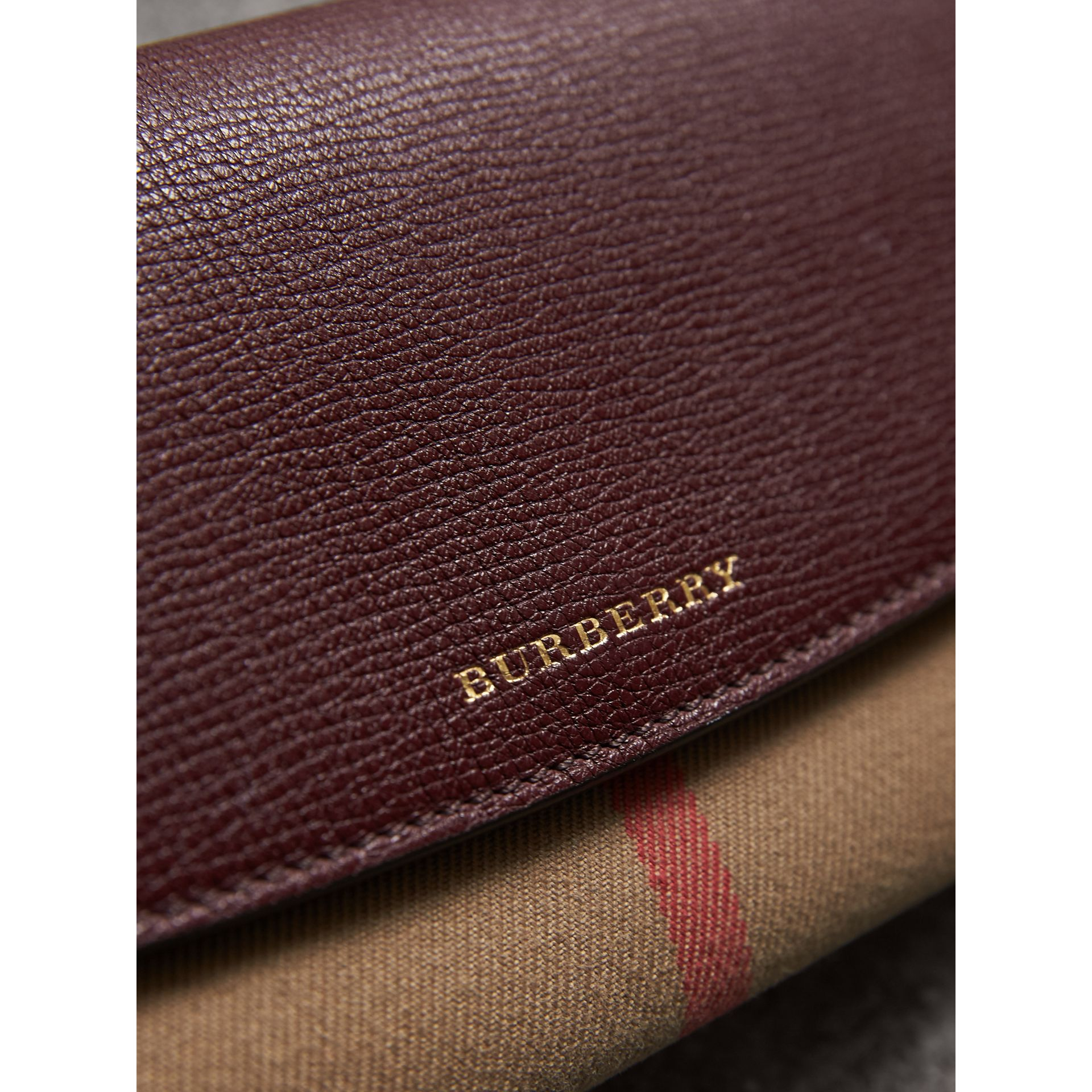 House Check And Leather Continental Wallet in Mahogany Red - Women | Burberry - gallery image 1
