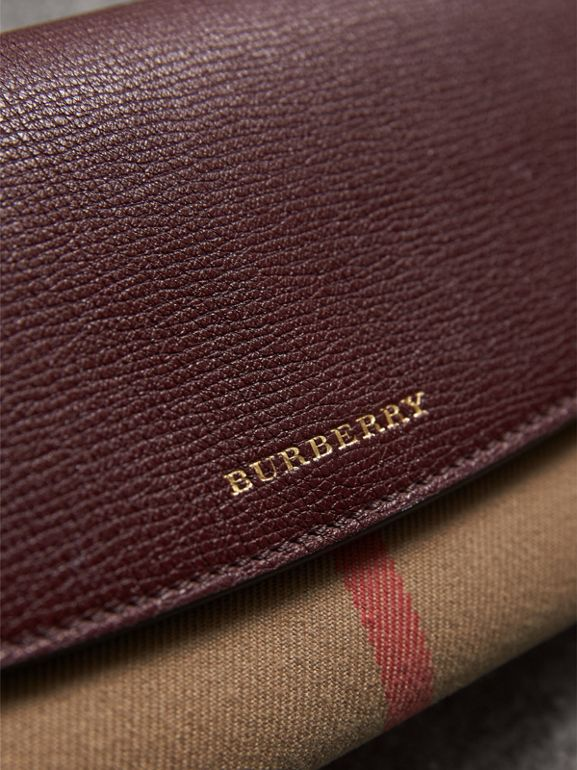 House Check And Leather Continental Wallet in Mahogany Red - Women | Burberry United Kingdom - cell image 1