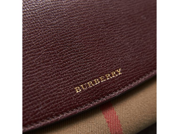 House Check And Leather Continental Wallet in Mahogany Red - Women | Burberry - cell image 1