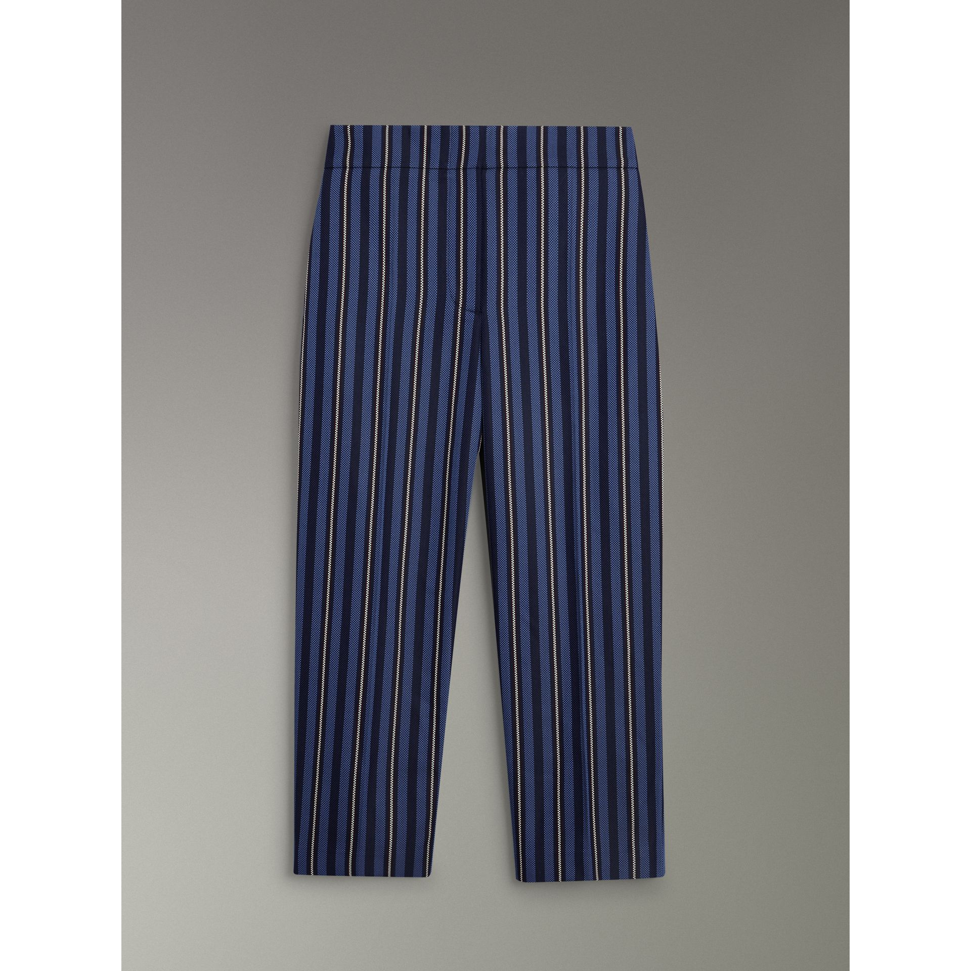 Striped Wool Blend Cropped Trousers in Navy/light Blue - Women | Burberry - gallery image 3
