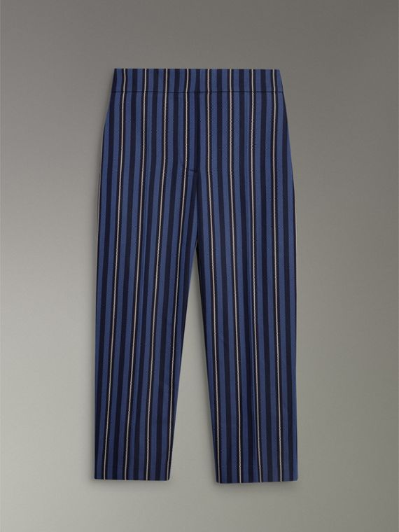Striped Wool Blend Cropped Trousers in Navy/light Blue - Women | Burberry - cell image 3