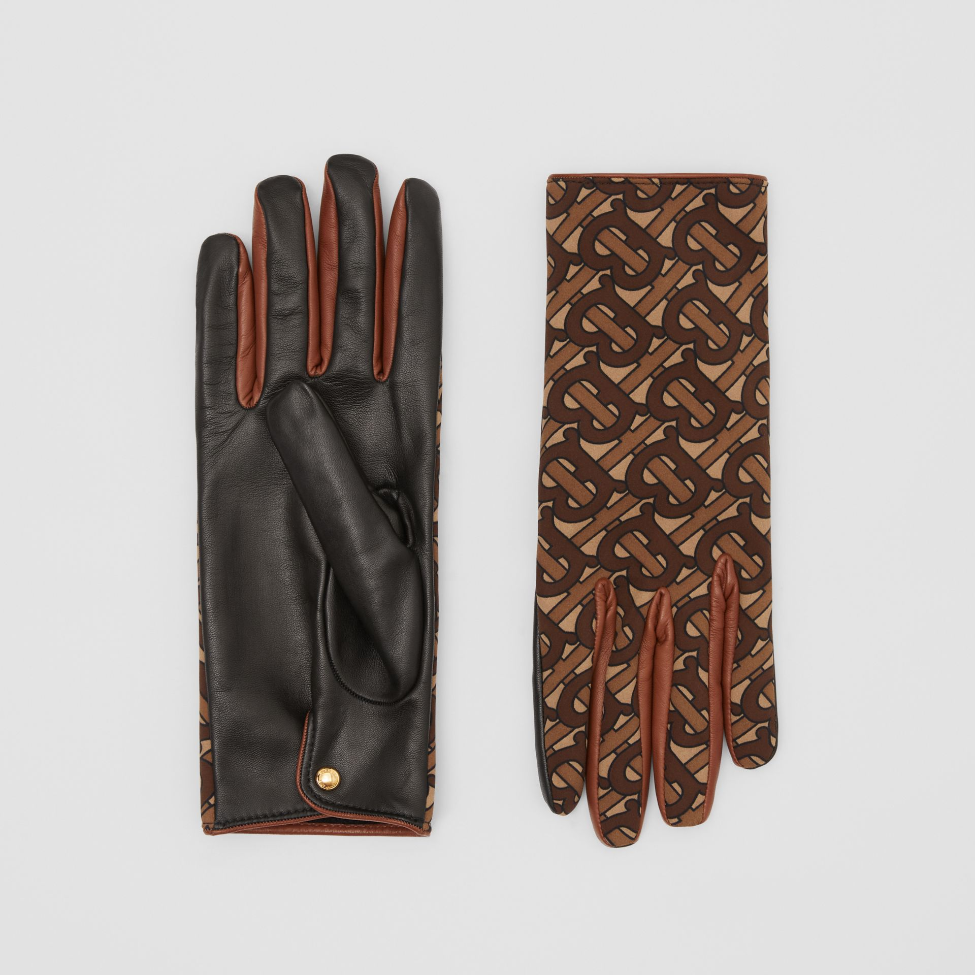 Cashmere-lined Monogram Print Lambskin Gloves in Bridle Brown | Burberry - gallery image 0