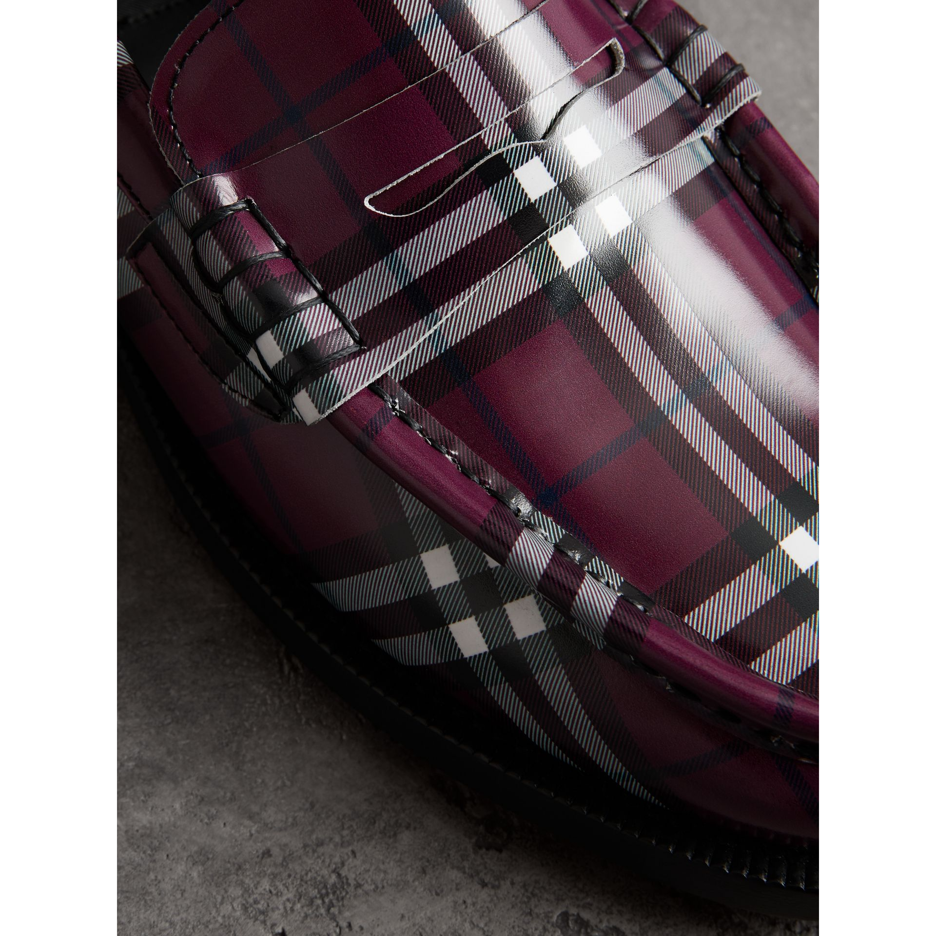 Gosha x Burberry Check Leather Loafers in Claret - Men | Burberry United States - gallery image 3