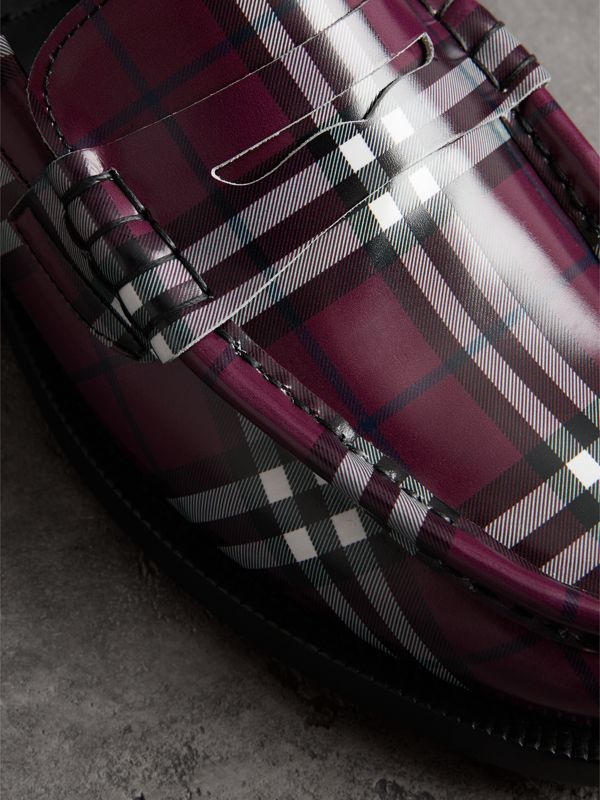 Gosha x Burberry Check Leather Loafers in Claret - Men | Burberry Singapore - cell image 3