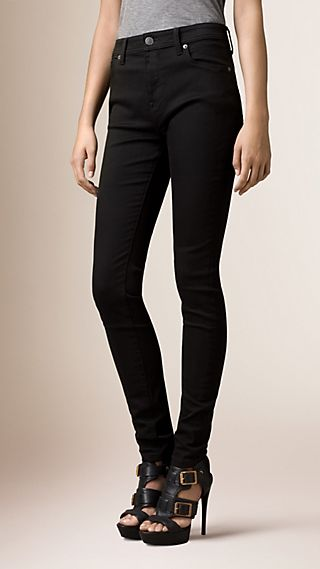 Jean skinny taille haute noir intense