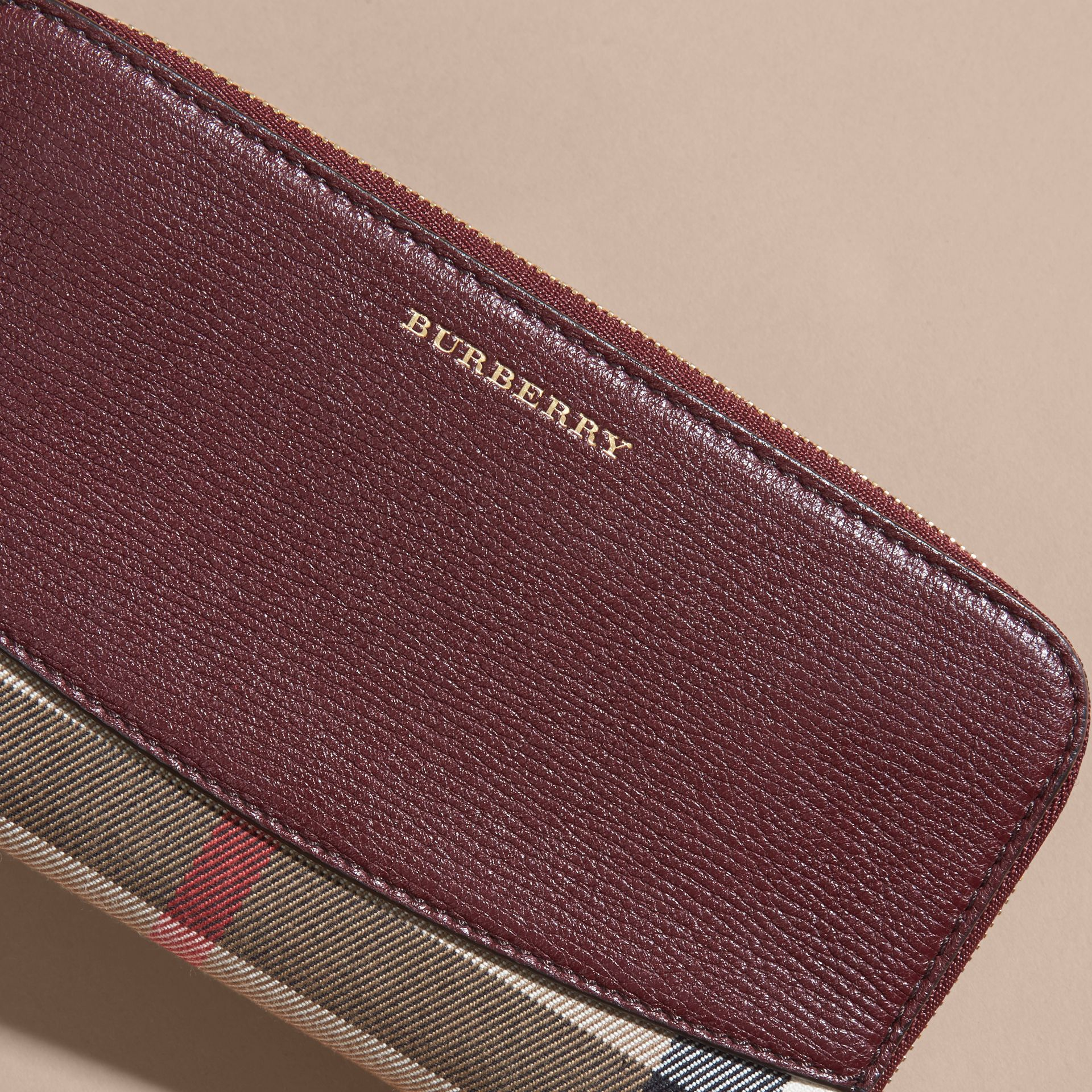 House Check and Leather Ziparound Wallet Mahogany Red - gallery image 4