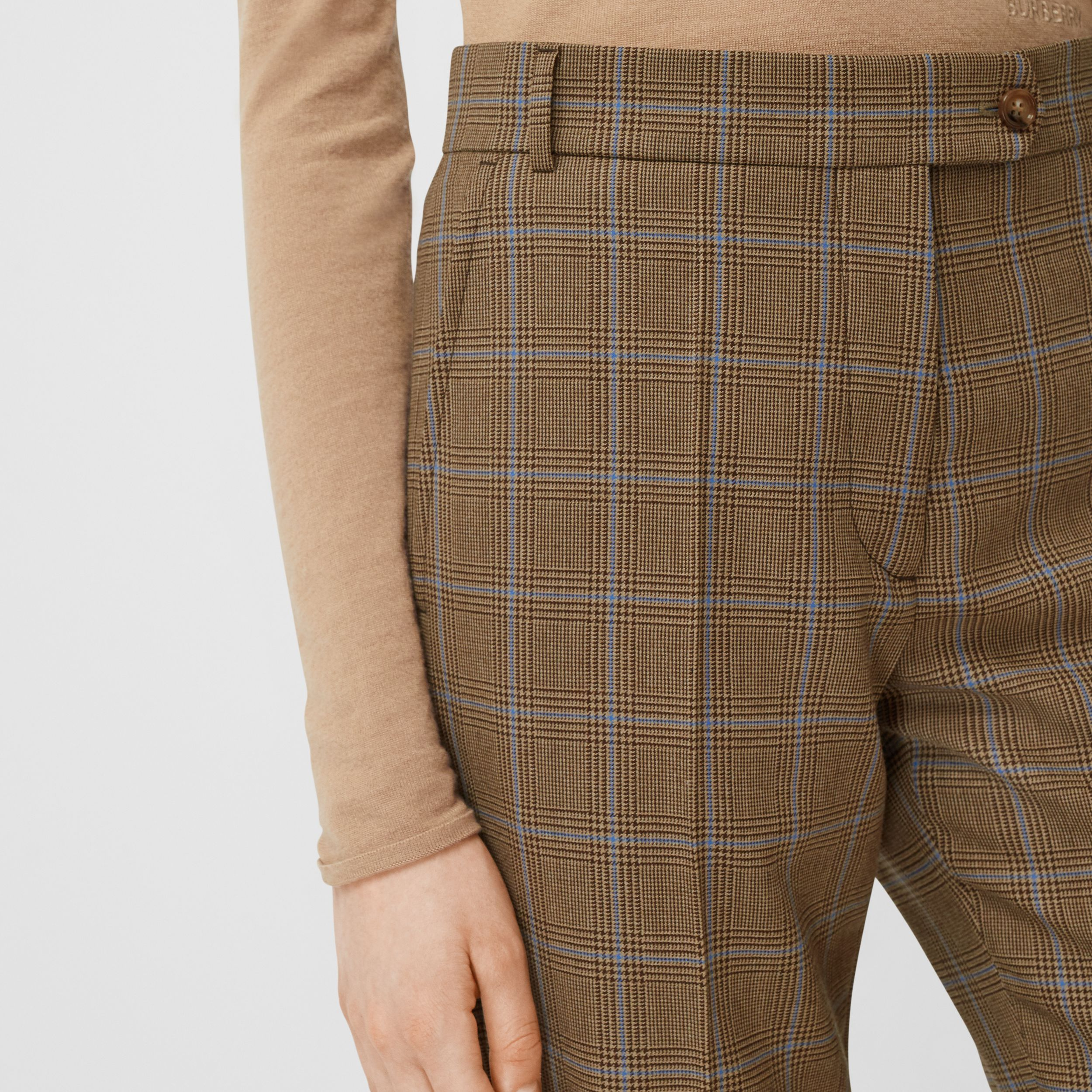 Prince of Wales Check Wool Tailored Trousers in Birch Brown - Women | Burberry - 2