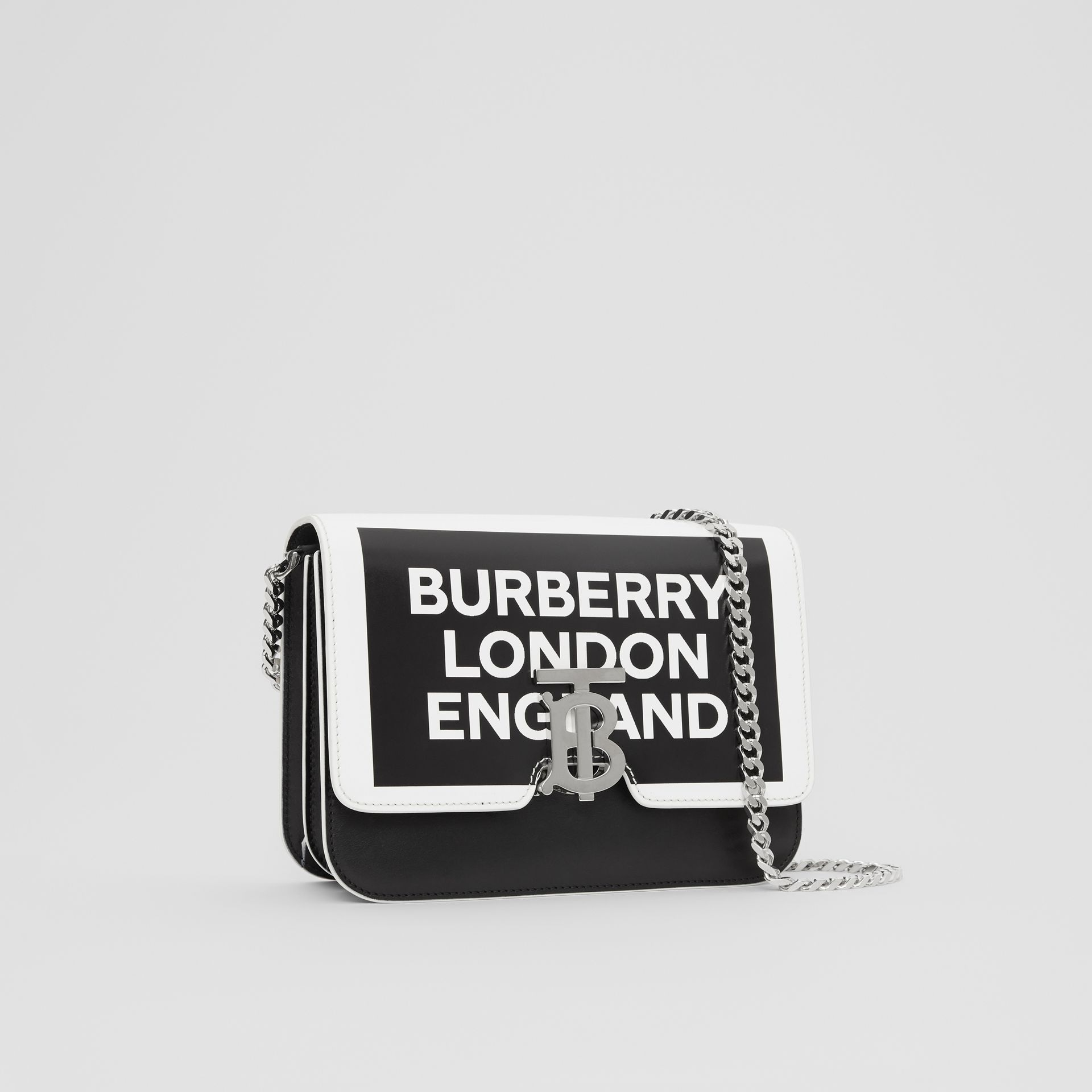Small Logo Print Leather TB Bag in Black/white - Women | Burberry United States - gallery image 6