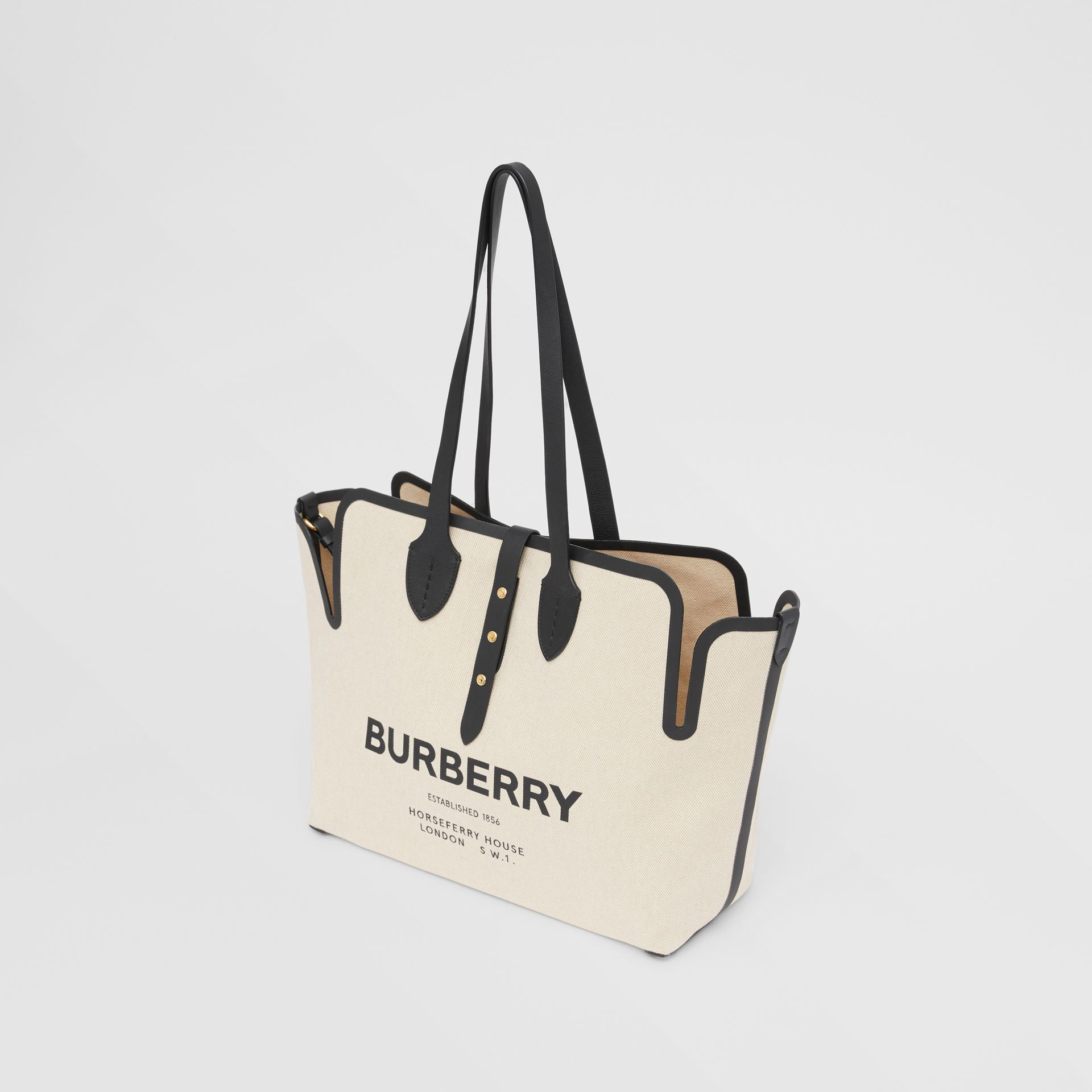The Medium Soft Cotton Canvas Belt Bag in Black - Women | Burberry United States - gallery image 2