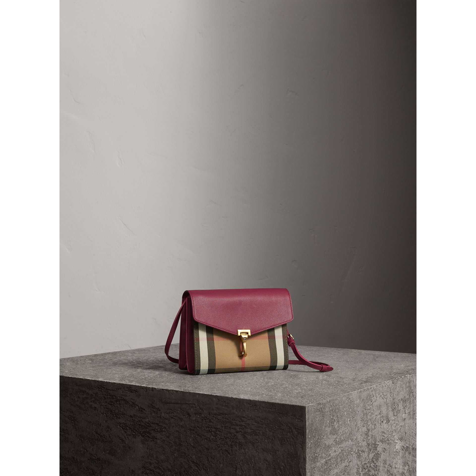 Small Leather and House Check Crossbody Bag in Berry Pink - Women | Burberry - gallery image 5
