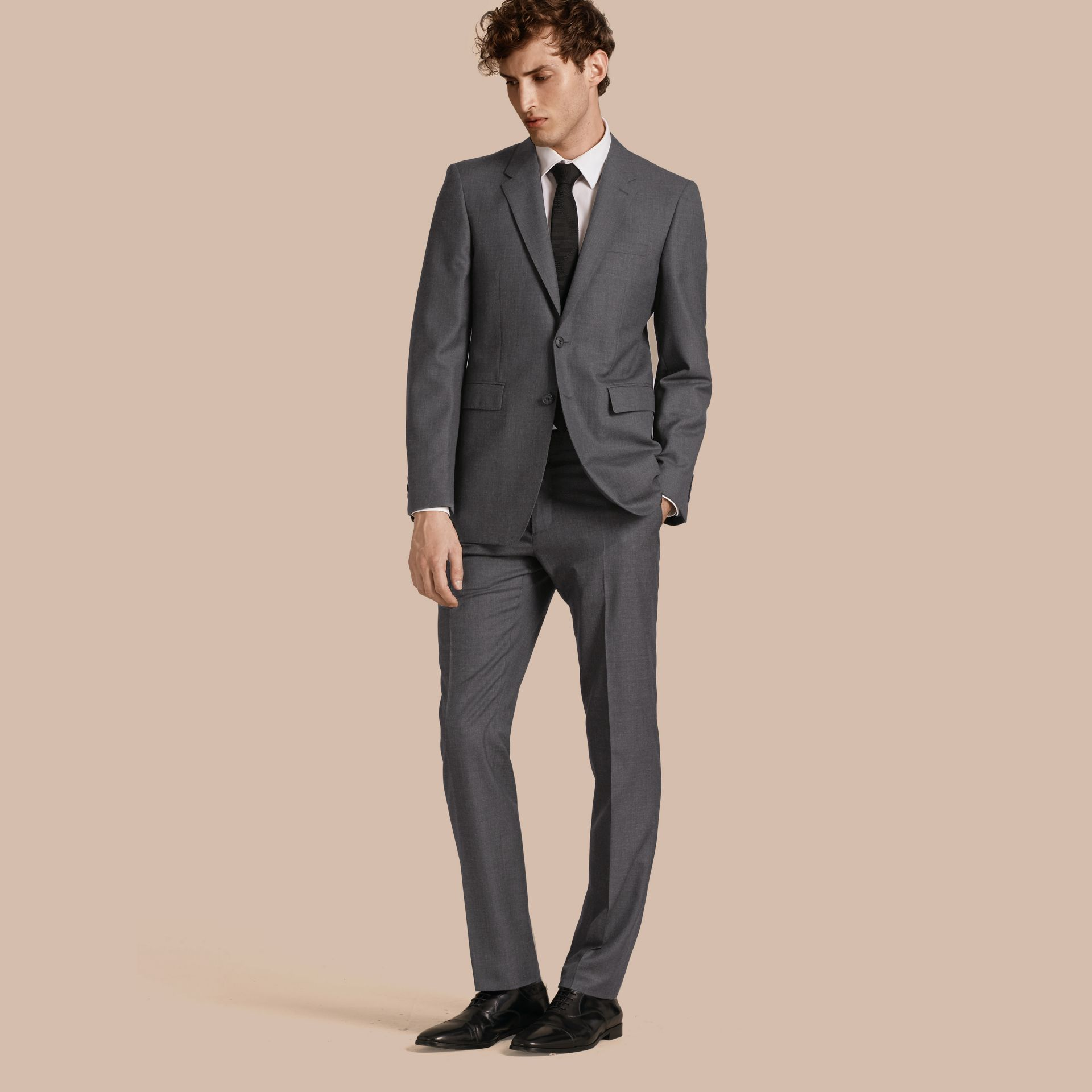 Modern Fit Wool Part-canvas Suit Charcoal - gallery image 1