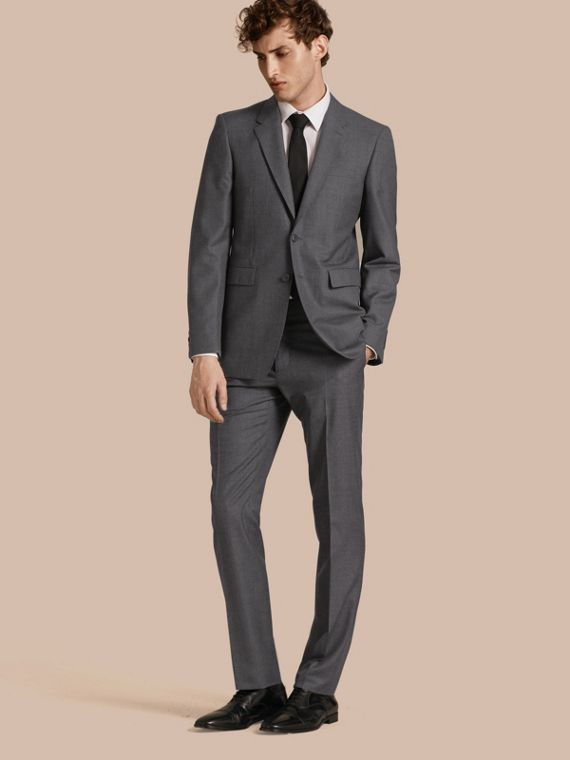 Modern Fit Wool Part-canvas Suit Charcoal