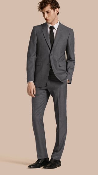 Modern Fit Wool Part-canvas Suit