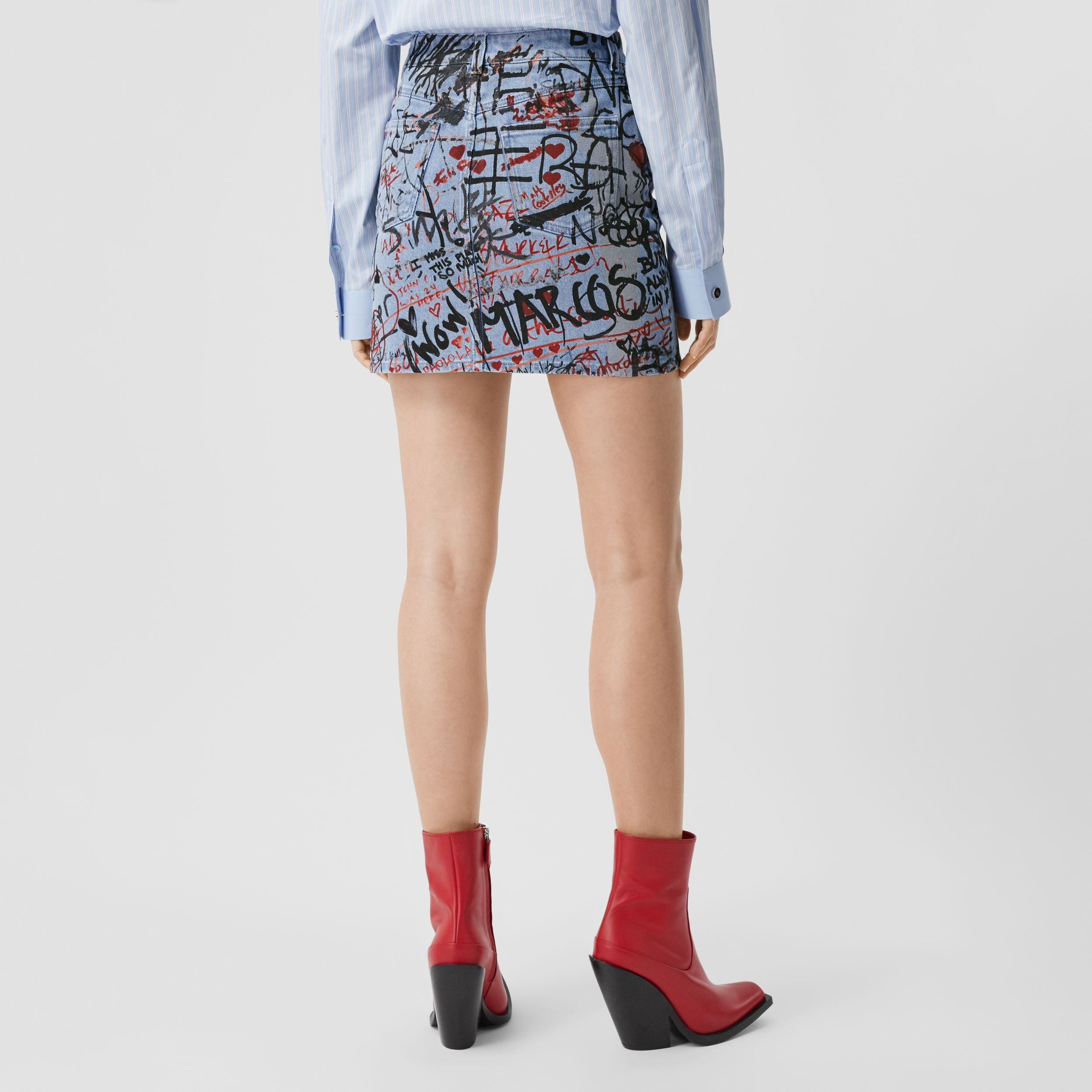 Graffiti Print Washed Denim Mini Skirt in Light Indigo - Women | Burberry Australia - 3