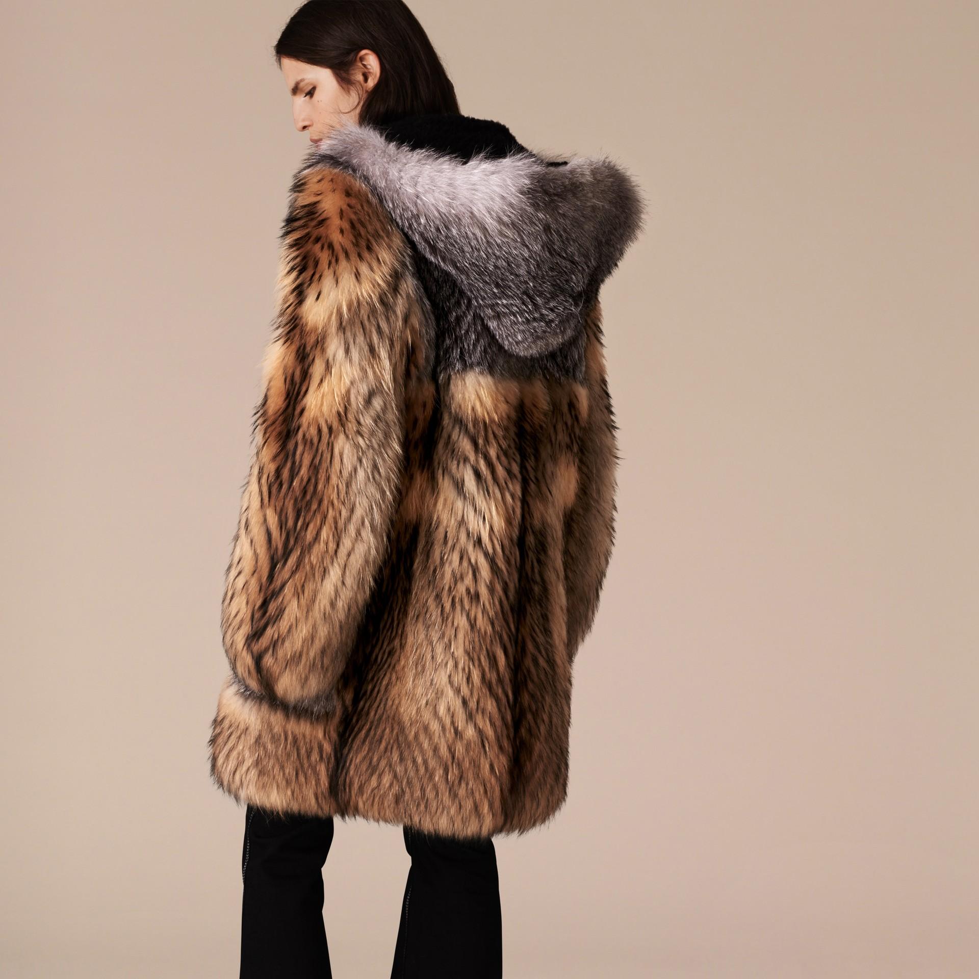 Camel Oversize Raccoon Duffle Coat - gallery image 3