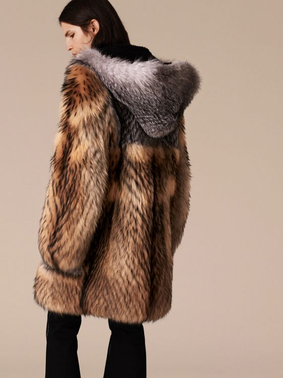 Camel Oversize Raccoon Duffle Coat - cell image 2