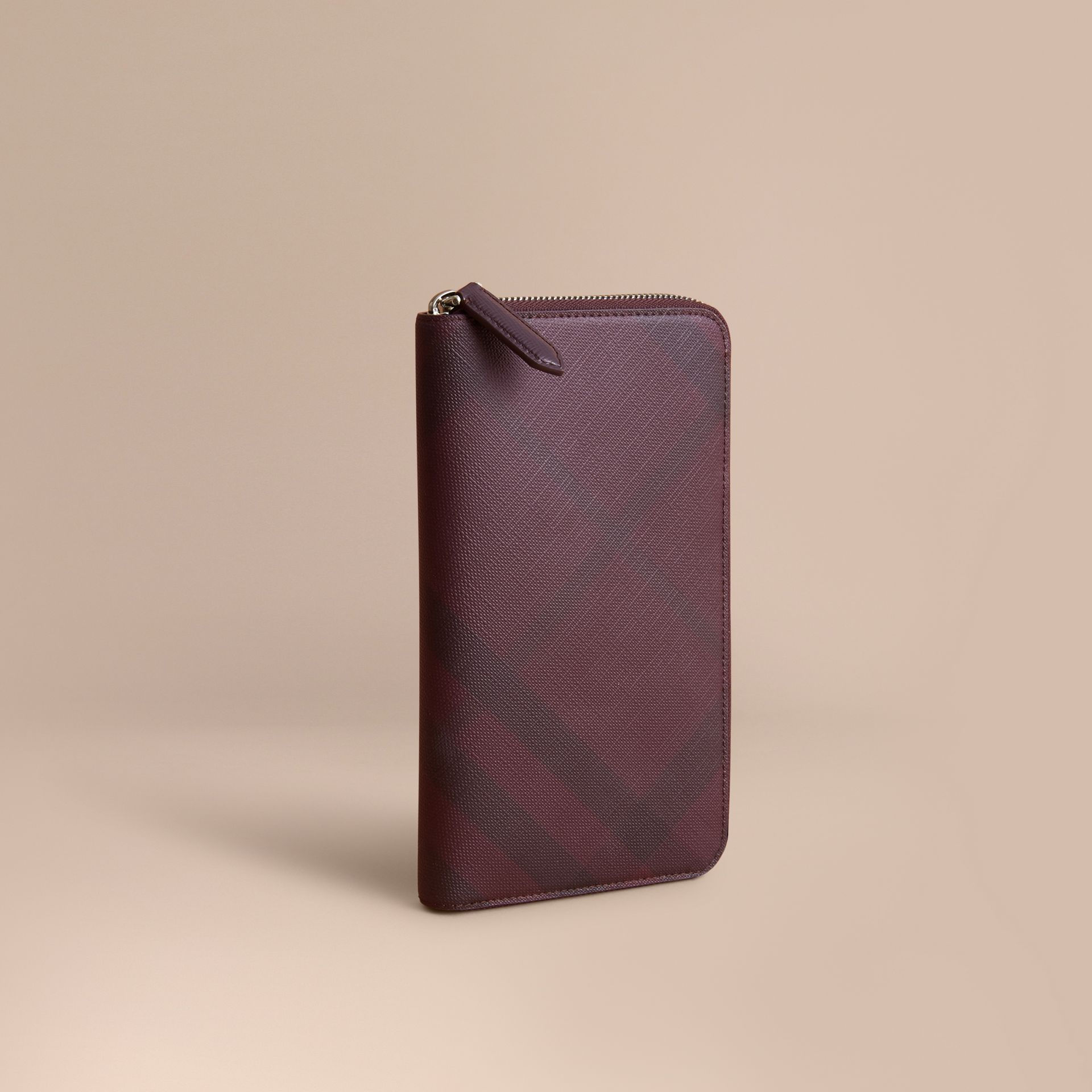 London Check Ziparound Wallet in Deep Claret - Men | Burberry - gallery image 1