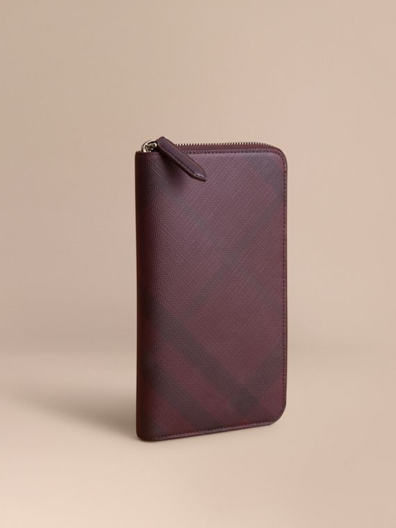 London Check Ziparound Wallet in Deep Claret