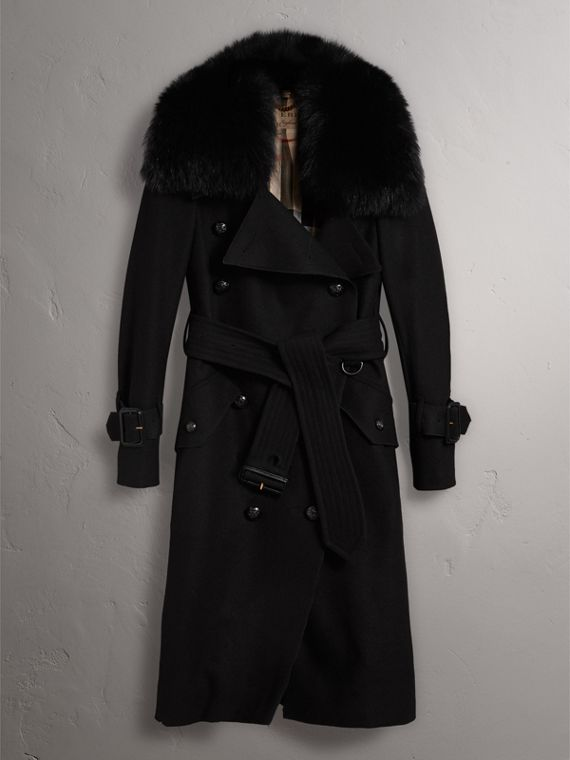 Detachable Fox Fur Collar Wool Blend Trench Coat in Black