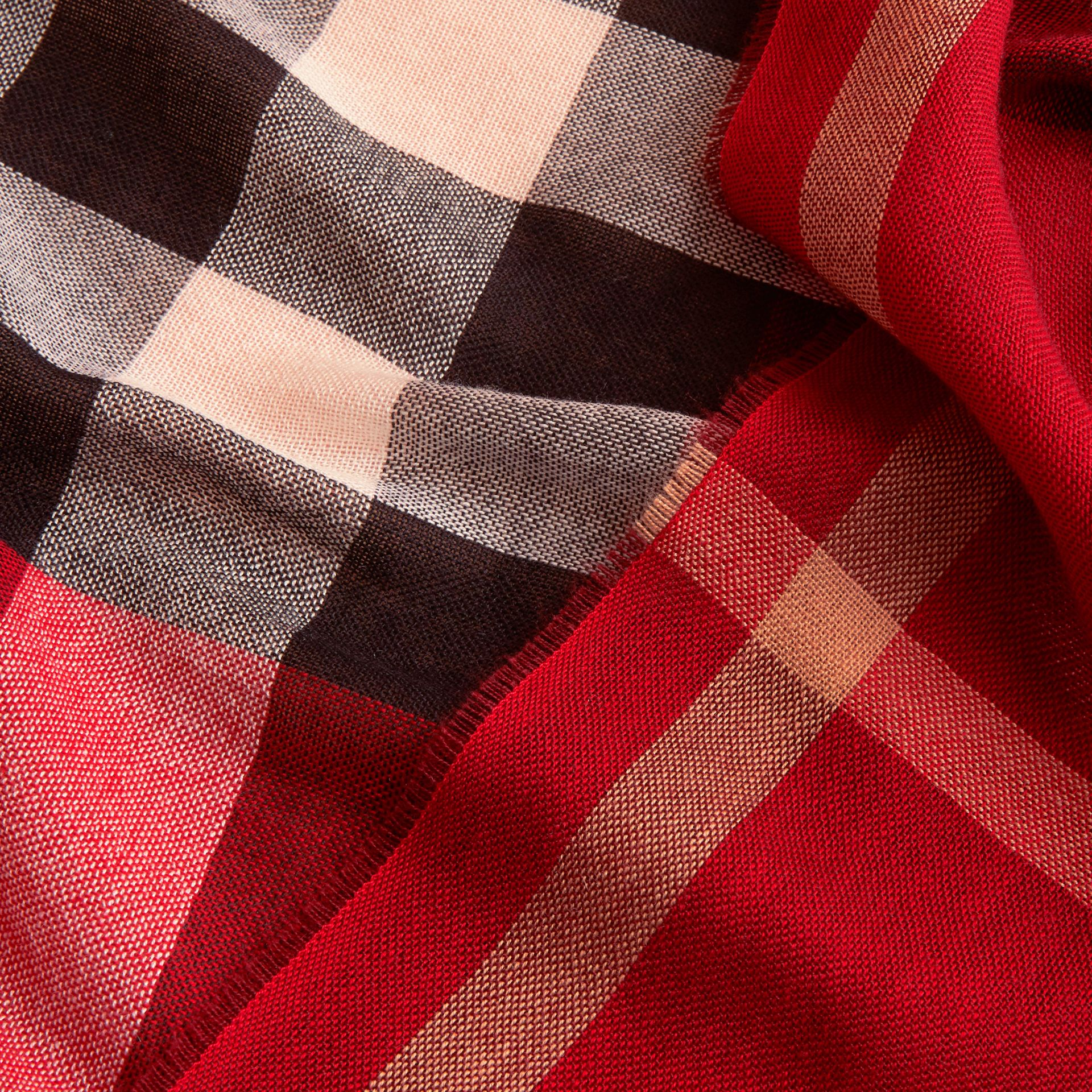 Lightweight Check Wool Cashmere Scarf in Parade Red | Burberry - gallery image 2