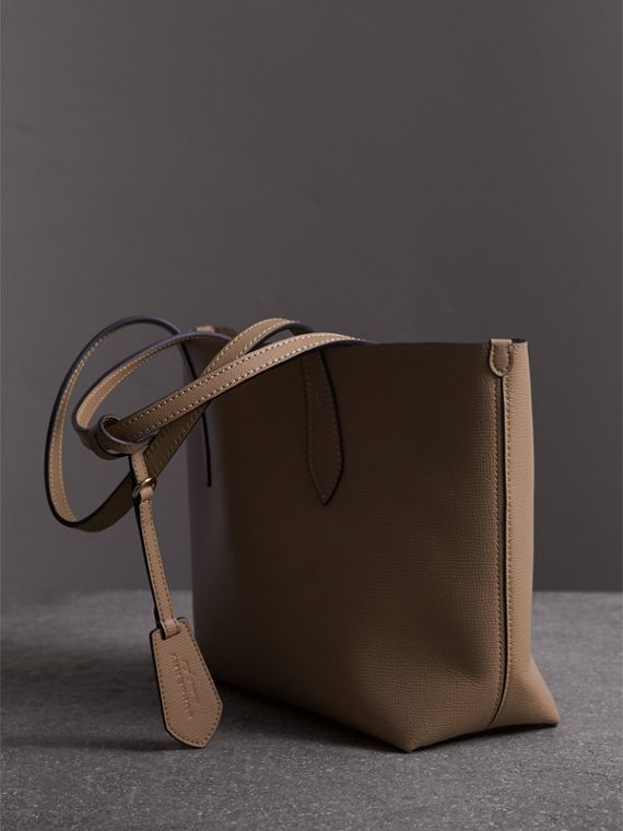 The Small Reversible Tote in Haymarket Check and Leather in Mid Camel - Women | Burberry - cell image 3
