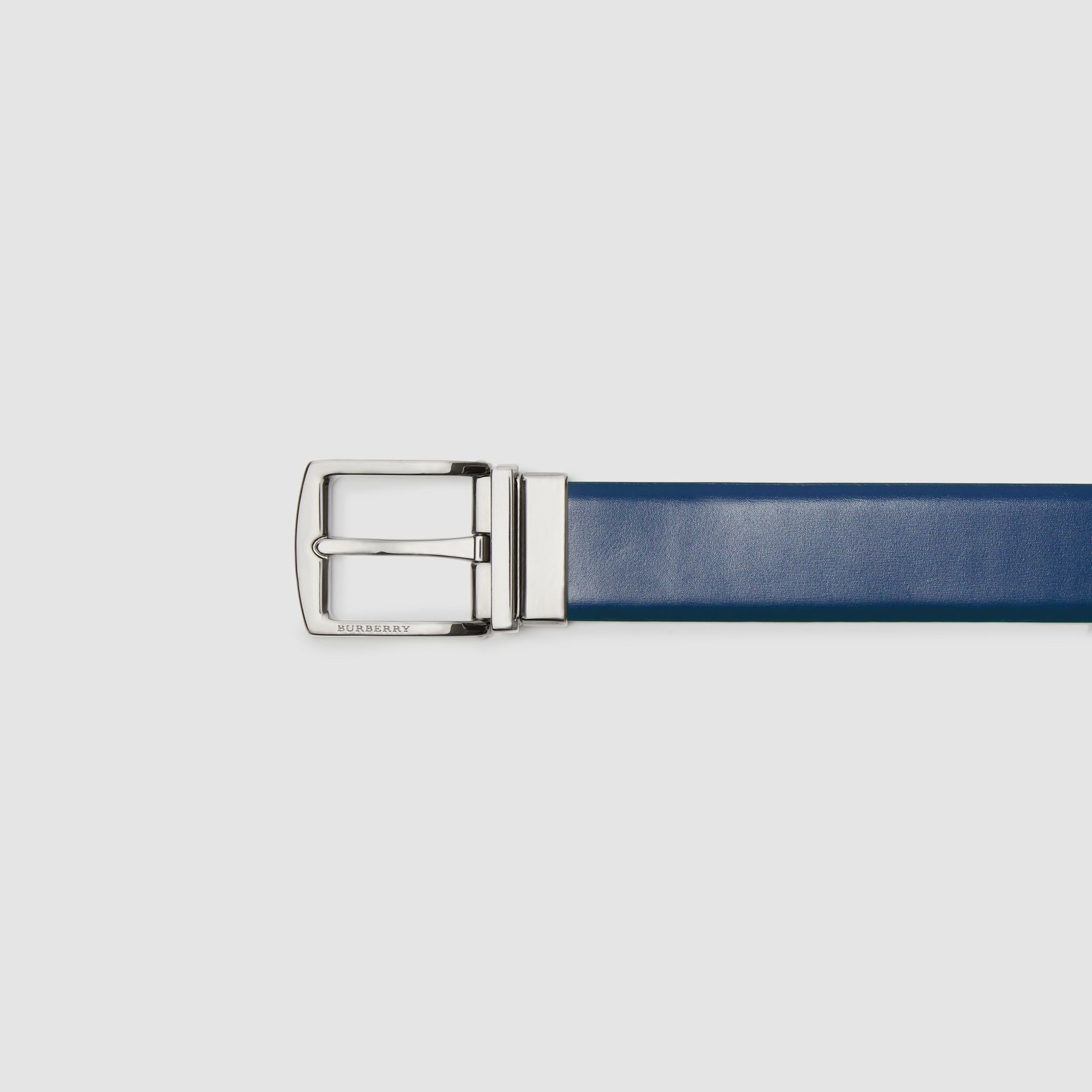 Reversible Leather Belt in Navy/black - Men | Burberry - gallery image 1