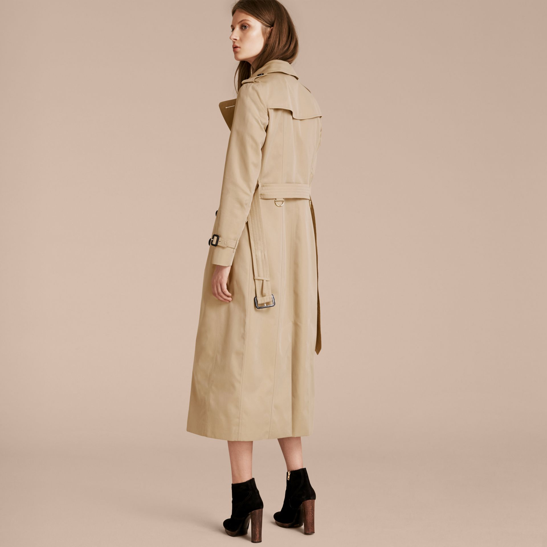 Long Cotton Gabardine Trench Coat - gallery image 3