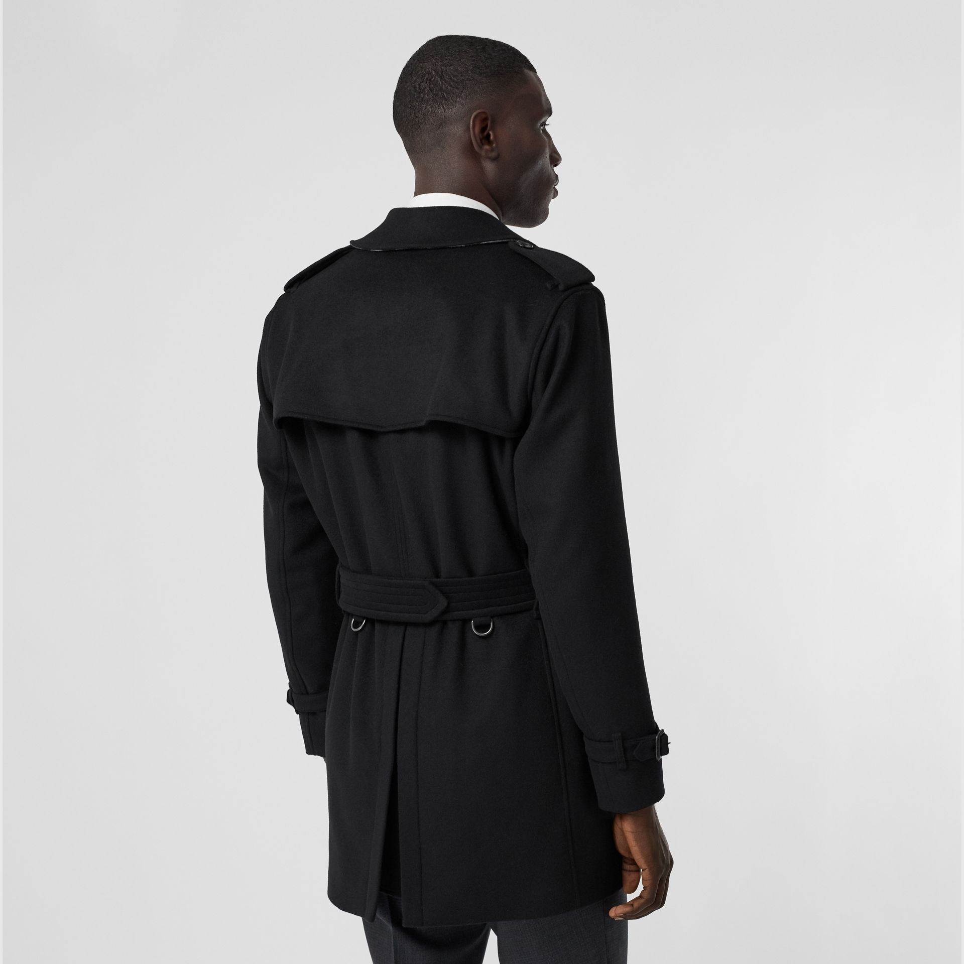 Wool Cashmere Trench Coat in Black - Men | Burberry - gallery image 2