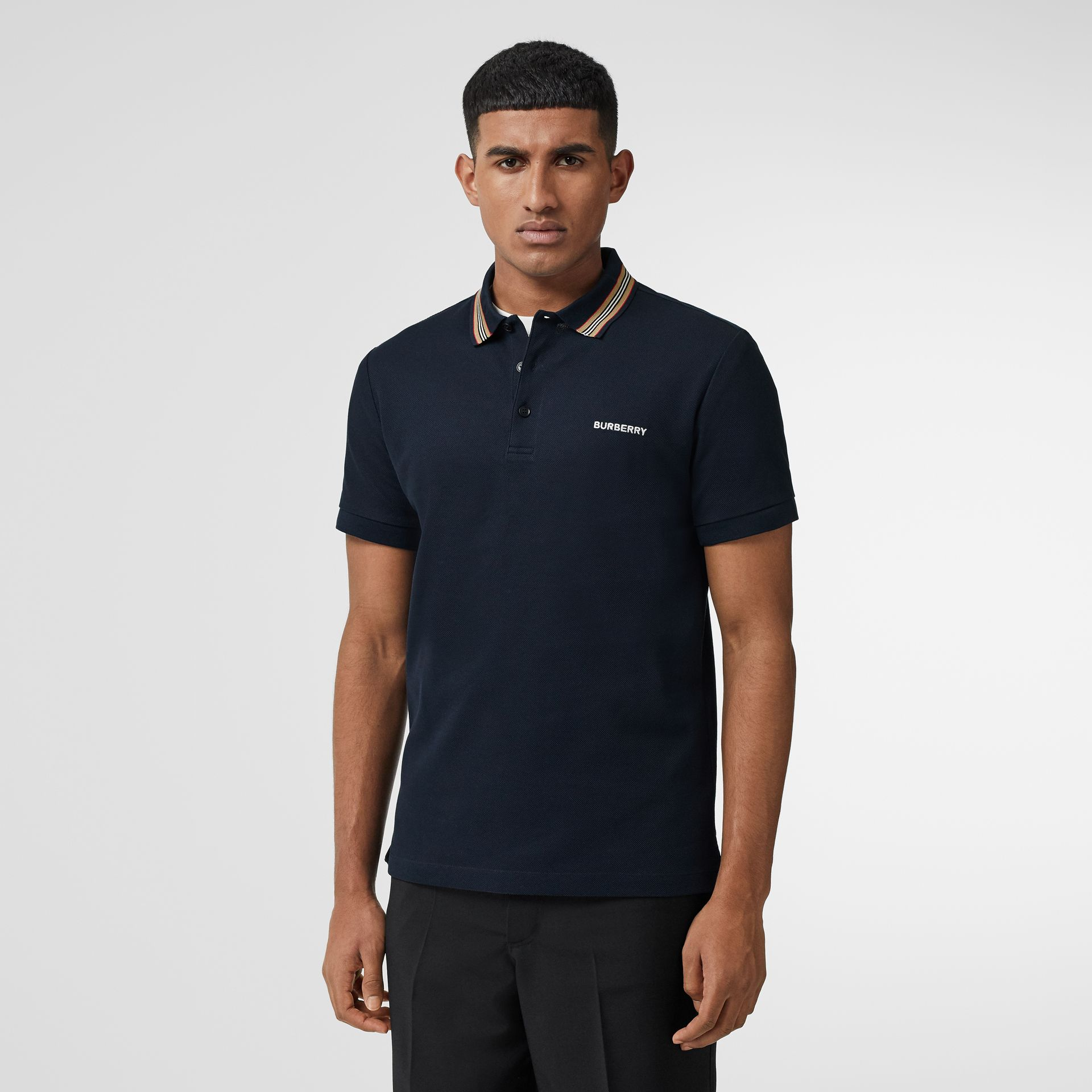 Icon Stripe Detail Cotton Piqué Polo Shirt in Navy - Men | Burberry - gallery image 4