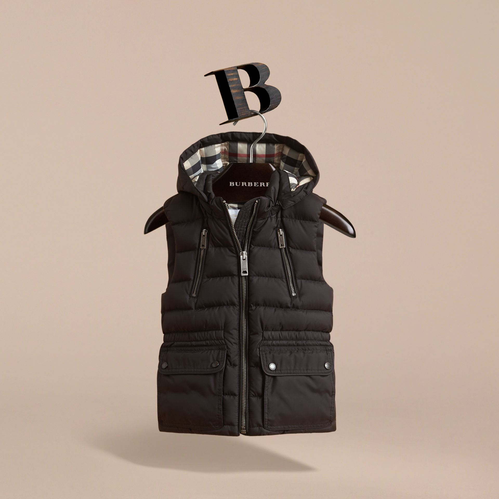 Detachable Hood Down-filled Gilet in Black - Girl | Burberry - gallery image 3