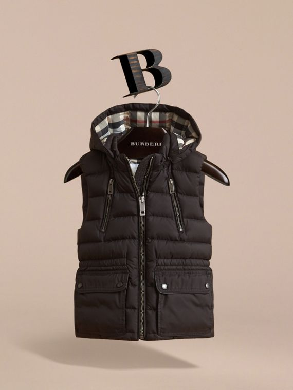 Detachable Hood Down-filled Gilet in Black - Girl | Burberry Australia - cell image 2