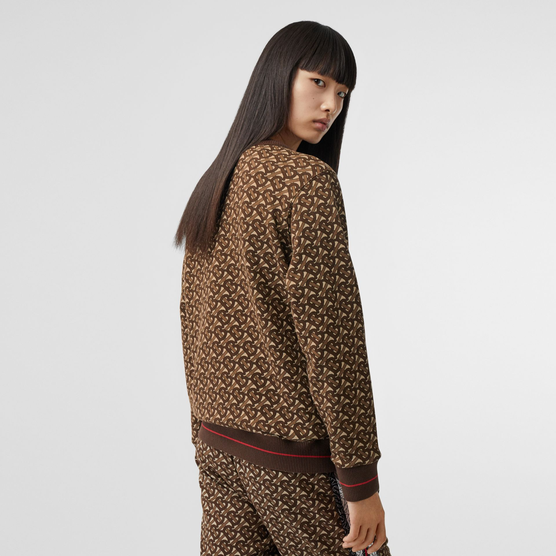 Monogram Stripe Print Cotton Oversized Sweatshirt in Bridle Brown - Women | Burberry - gallery image 2