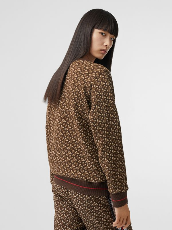 Monogram Stripe Print Cotton Oversized Sweatshirt in Bridle Brown - Women | Burberry - cell image 2