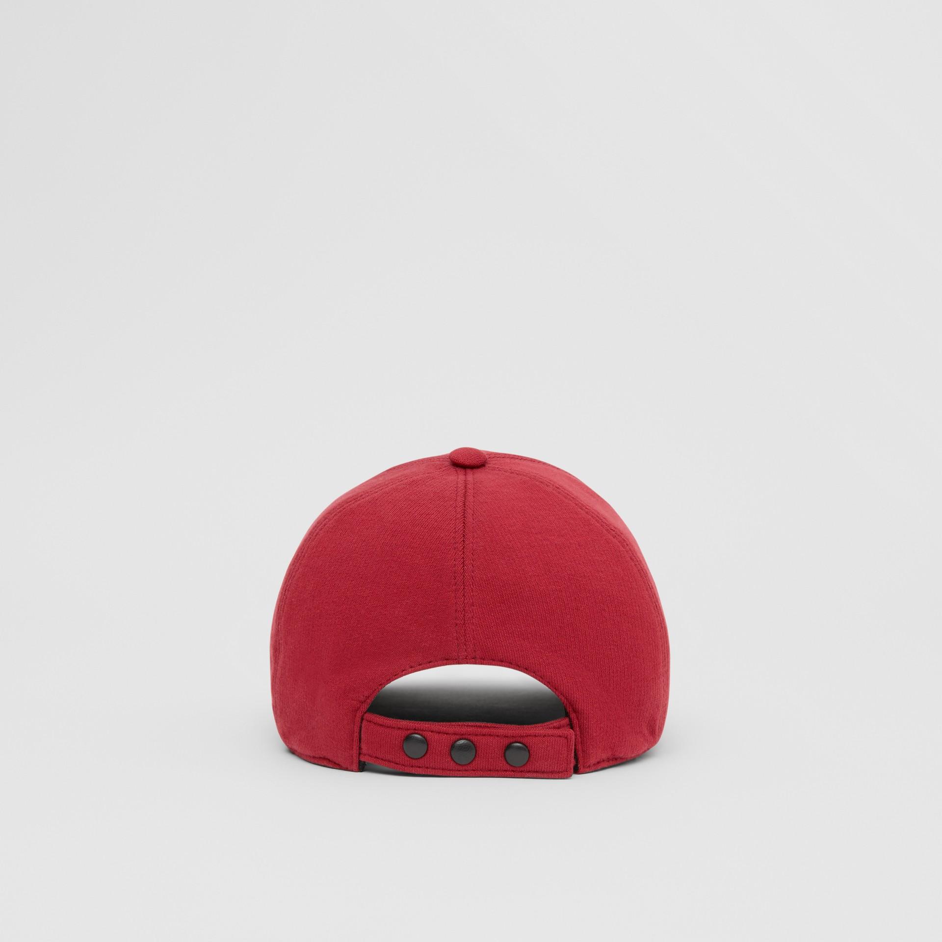Monogram Motif Jersey Baseball Cap in Dark Carmine | Burberry - gallery image 6