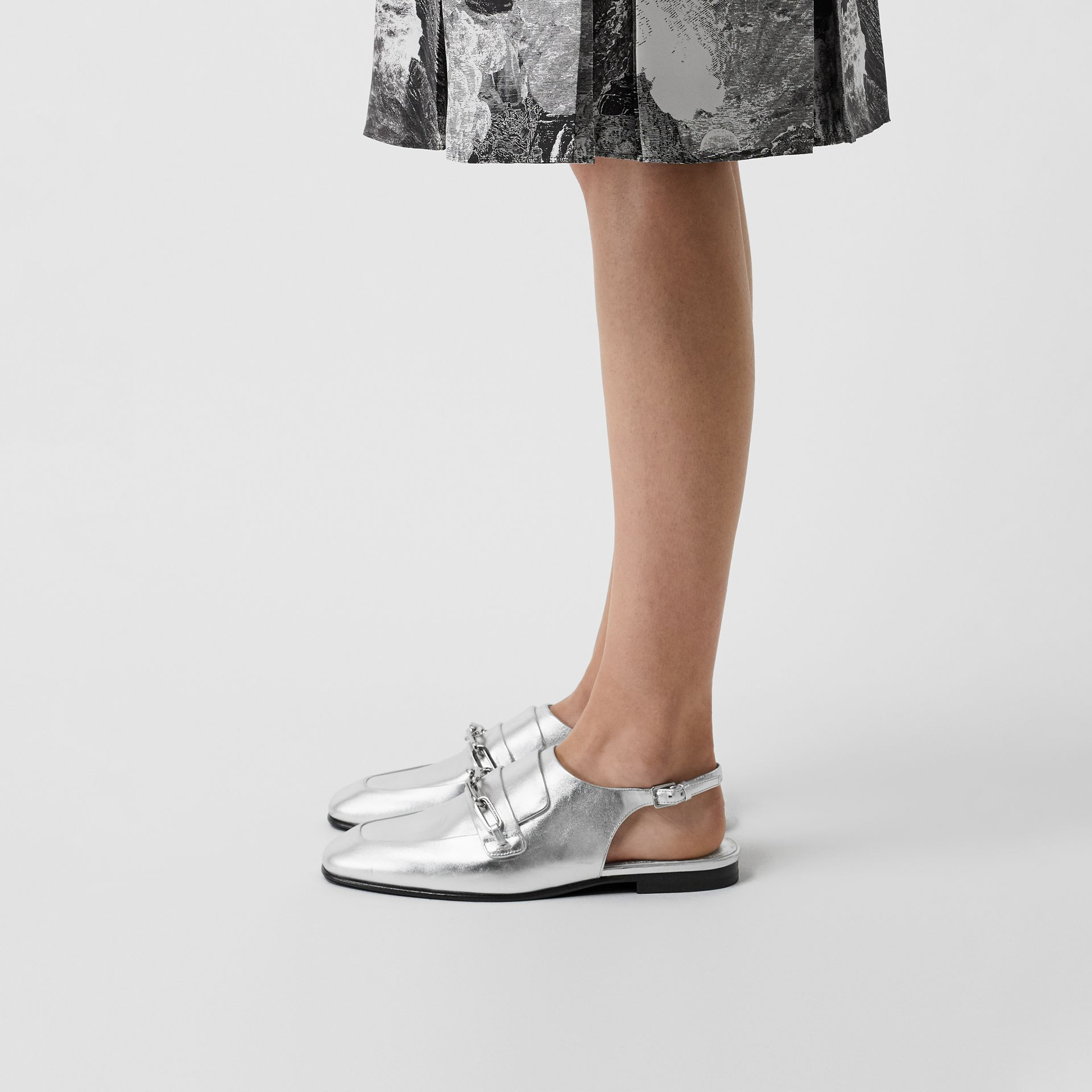 Link Detail Leather Slingback Loafers in Silver Grey - Women | Burberry - gallery image 2