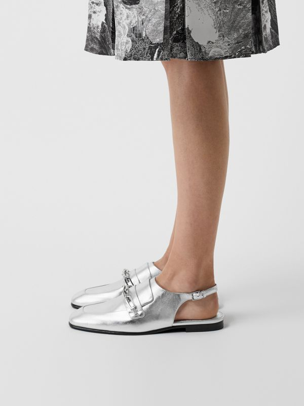 Link Detail Leather Slingback Loafers in Silver Grey - Women | Burberry - cell image 2