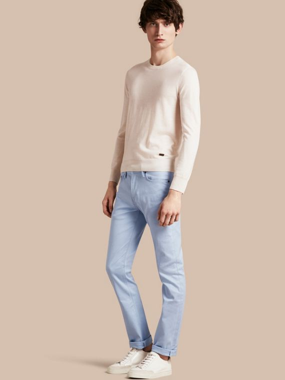 Slim Fit Japanese Stretch Denim Jeans Light Blue