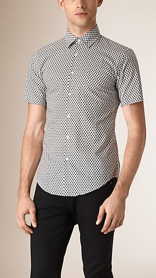 Slim Fit Geometric Print Cotton Shirt