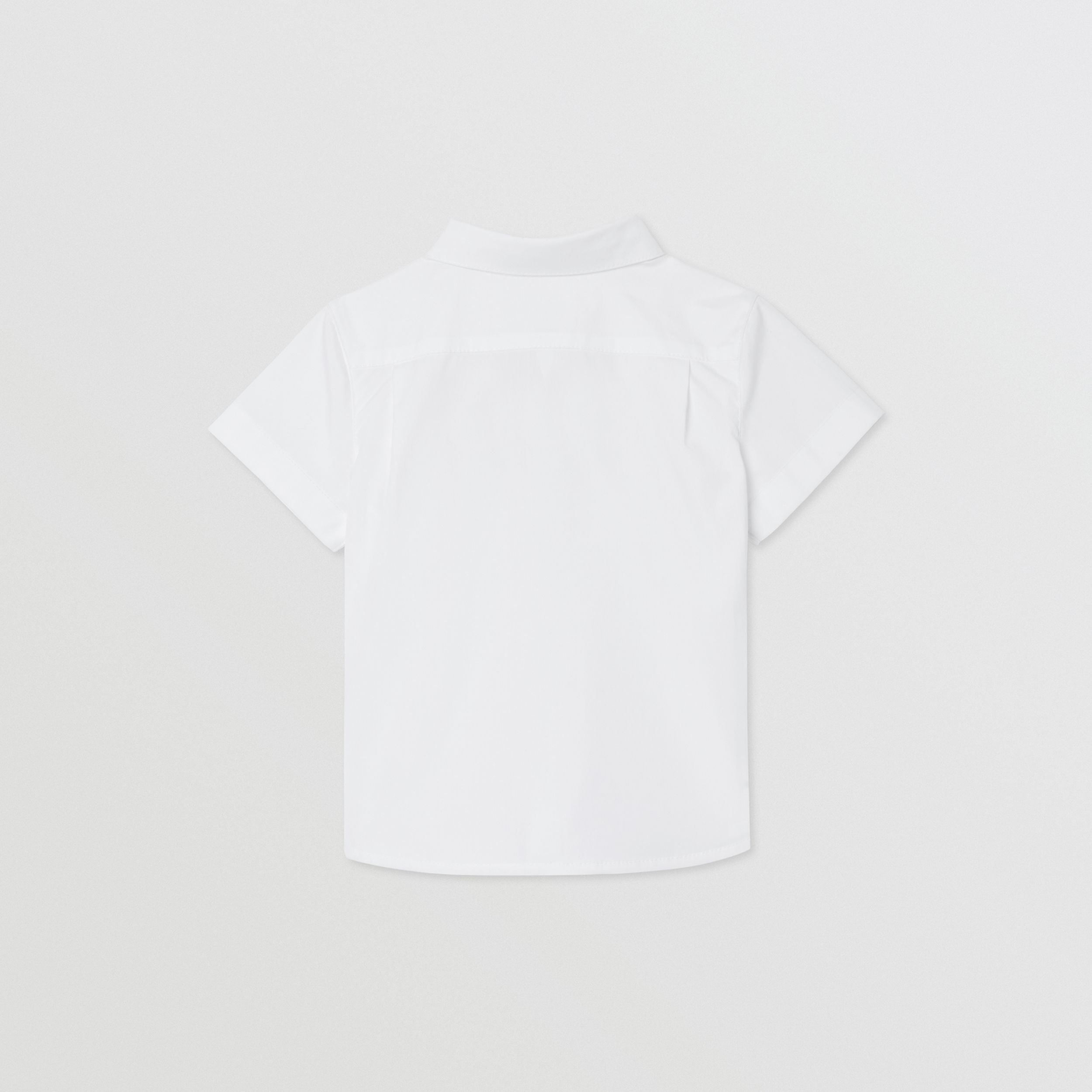 Short-sleeve Icon Stripe Trim Stretch Cotton Shirt in White - Children | Burberry Canada - 4